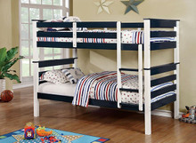 Lorren Wood Twin Bunk in Two Tone Finish white and blue