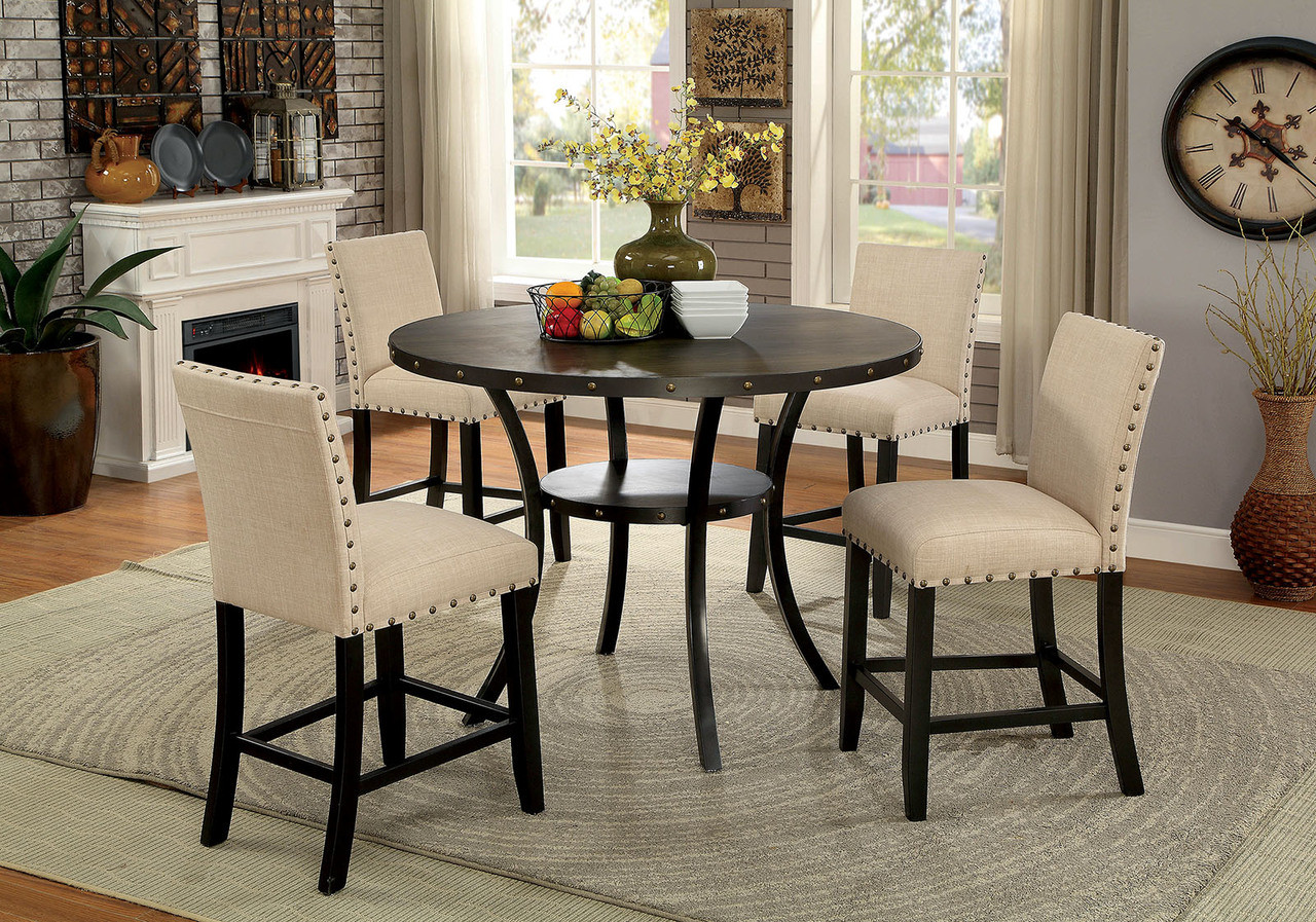 Kaitlin Round Counter Height Table with Chairs   Furniture of America CM3323RPT ... & 5Pc Kaitlin Round Counter Height Table Set