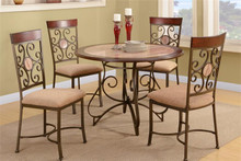 Kamila Round Faux-Marble Dinette Set