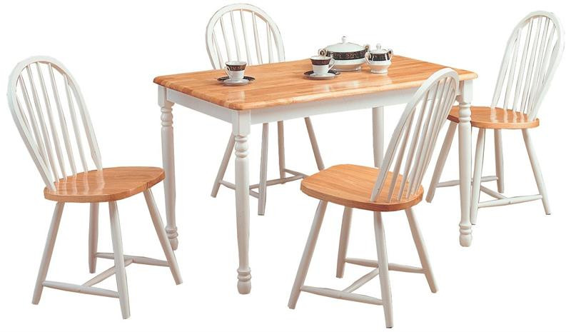 Natural White Butcher Block Table W/4 Spindle Chairs | Farmhouse Table With  Chairs