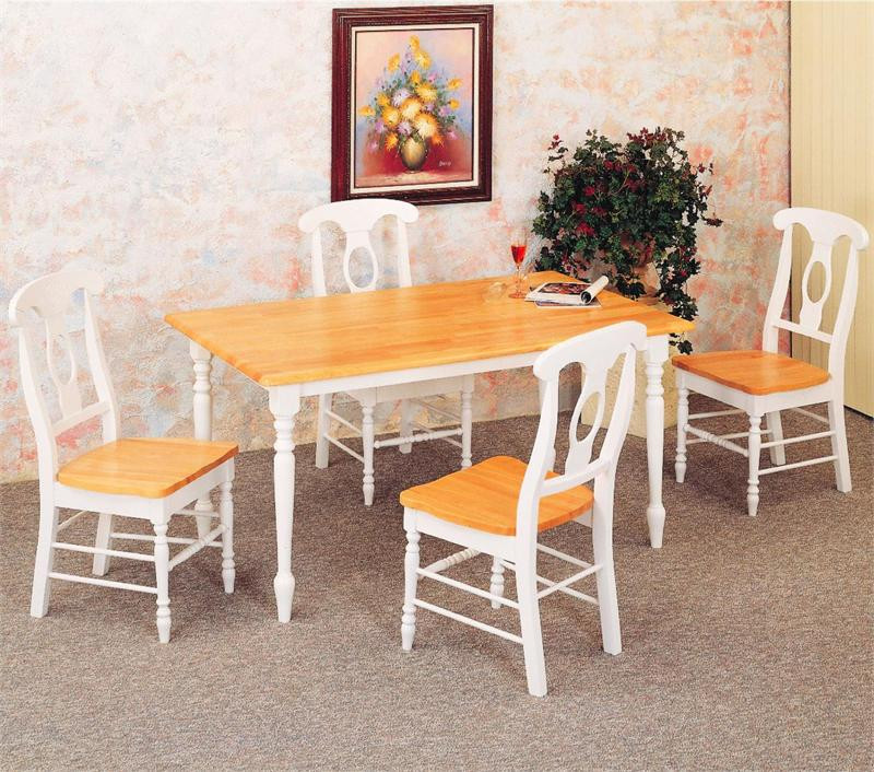 White Butcher Block Kitchen Table : 48 inch Natural White Butcher Block Kitchen Table w/4 Napoleon Chairs
