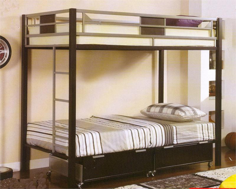 Silver & Black Metal Twin Bunk Bed | Metal Bunk Bed - Silver & Black Metal Twin Bunk Bed