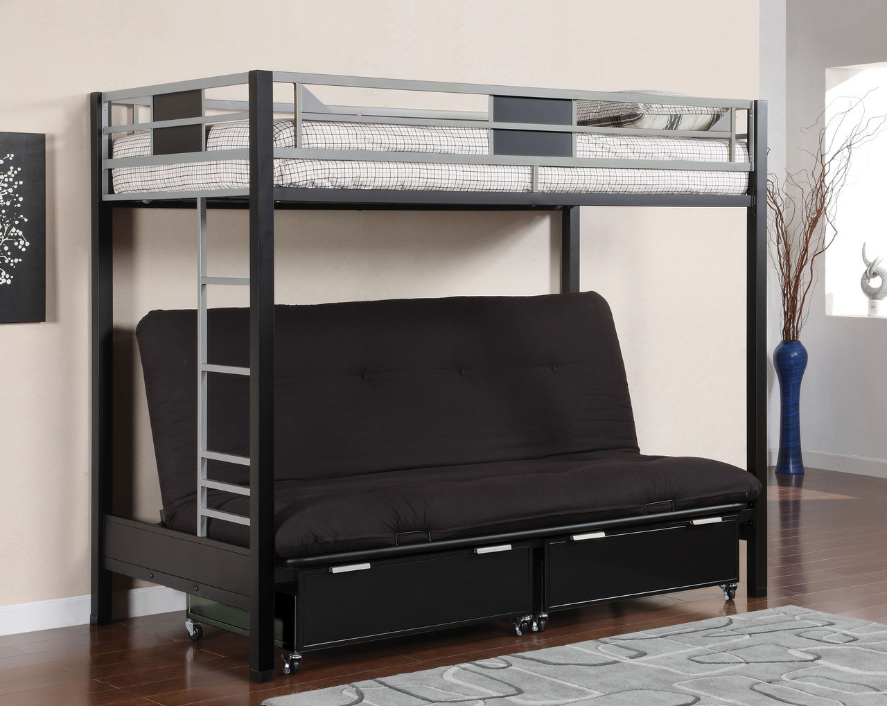 Silver & Black Metal Twin Futon Bunk Bed | Futon Bunk Bed - Silver & Black Metal Twin Futon Bunk Bed, Youth Furniture