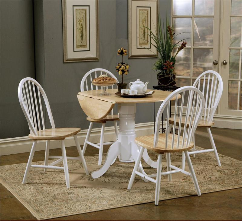 Round Butcher Block Drop-Leaf Kitchen Table w/ Chairs | Small Round Kitchen Tables : white round kitchen table and chairs - Cheerinfomania.Com