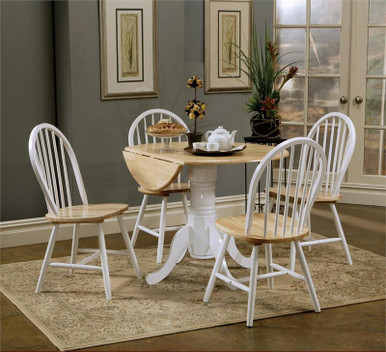White Butcher Block Kitchen Table : Round Butcher Block Drop-Leaf Kitchen Table w/ Chairs