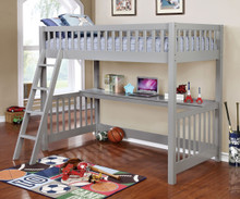 Gray Wood Twin Loft with Workstation