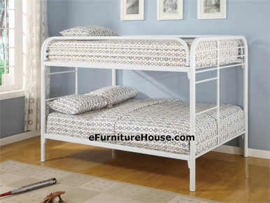 White Metal Full over Full Size Bunk Bed