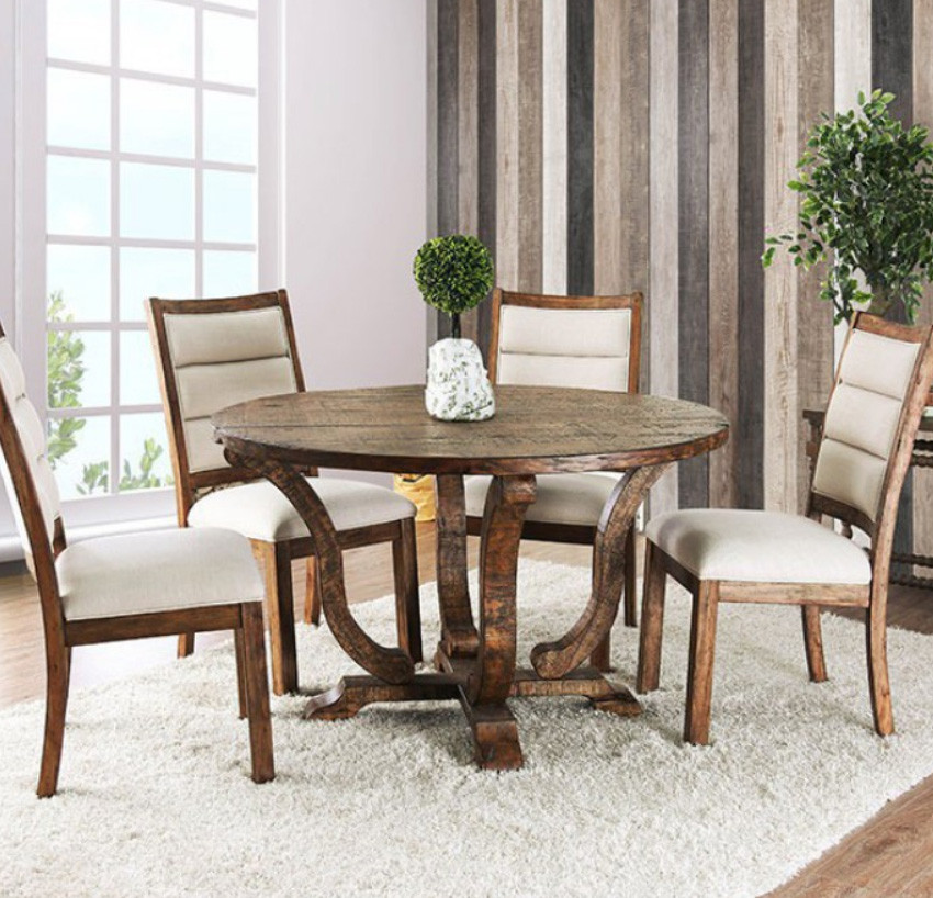 Isabelle 5 Piece Rustic Oak Round Table Set | CM3395A RT Weathered Table  With 4 ...