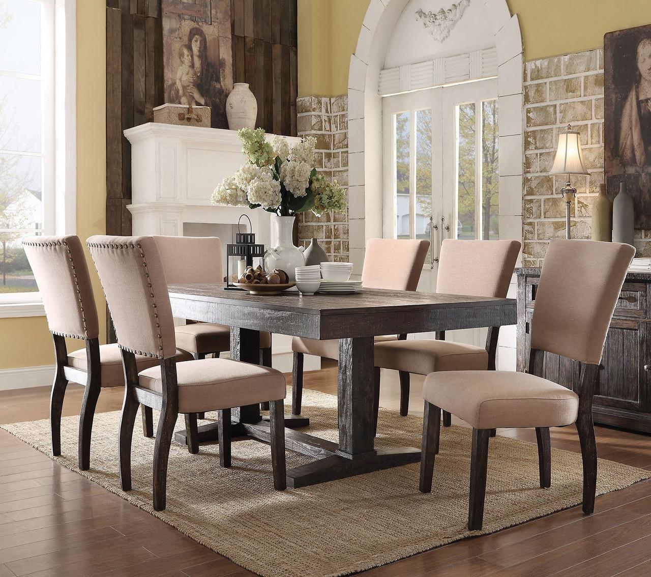 Oak Dining Room Furniture Sets: Eliana 7PC Salvaged Dark Oak Dining Room Table Set