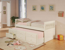 White Twin Day Bed w/ Under Bed Trundle Drawers