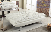 Ivory Faux Leather Adjustable Sofa Bed