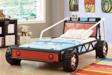 black red white twin race car bed