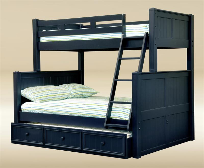 Dillon Twin Over Full Bunk Bed With Stairs · Black Finish · Navy Blue  Finish ...
