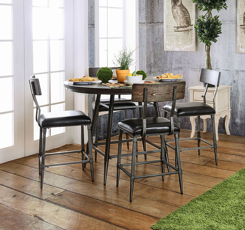 Industrial Style 45\  Round Counter Height Table Set & Industrial Style 45\