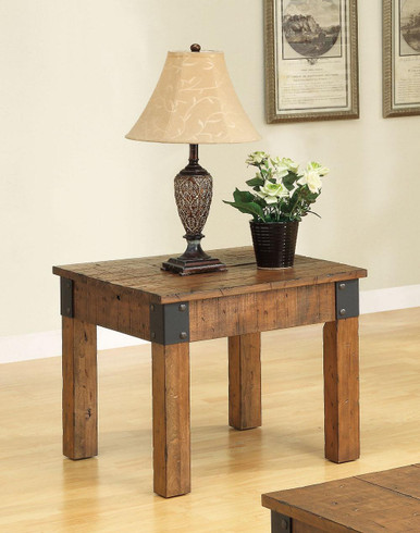 Country Rustic Style Wood End Table