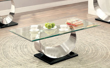 Furniture of America CM4726 Satin Plated Coffee Table | Fancy Glass Satin Plated Coffee Tables