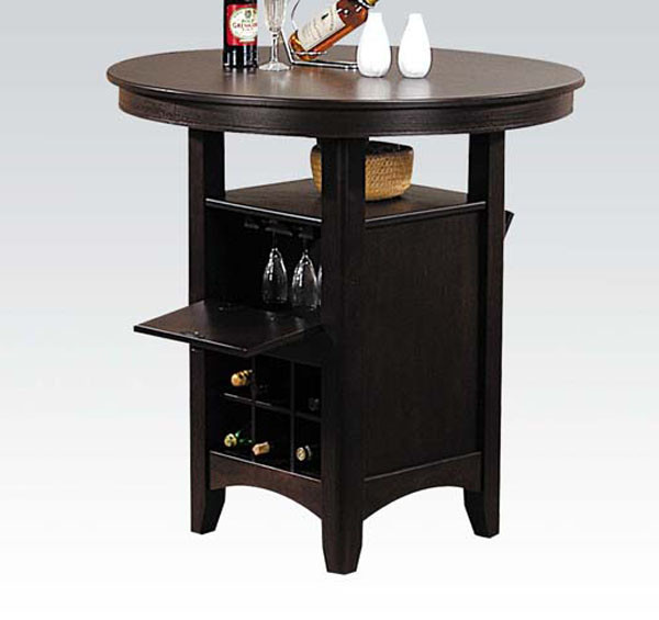 Dark Walnut Round Wood Bar Table