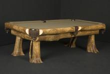 Rustic Ironwood Log Billiard Pool Table