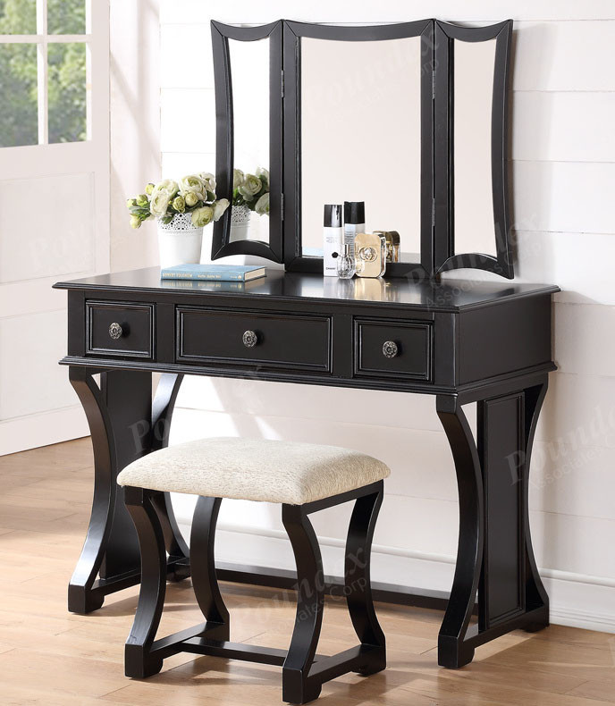 Dulce makeup desk with bench mirror and drawers for sale for Black makeup table with mirror