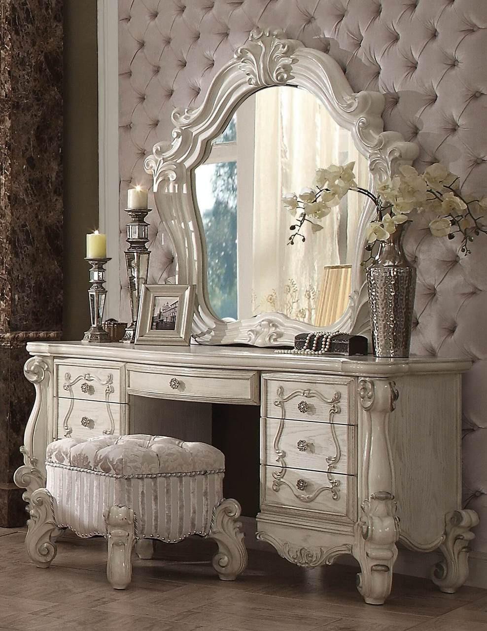 Beau Versailles Bone White Ornate Dressing Table Set