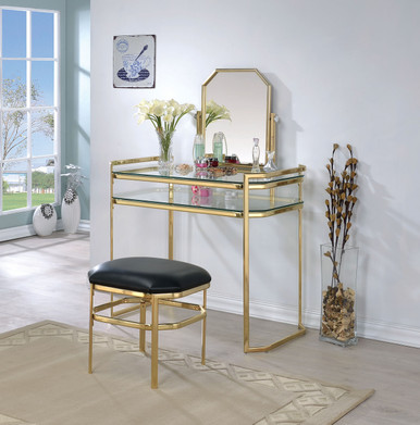 Arabella gold metal makeup vanity table set with mirror for Glass makeup table