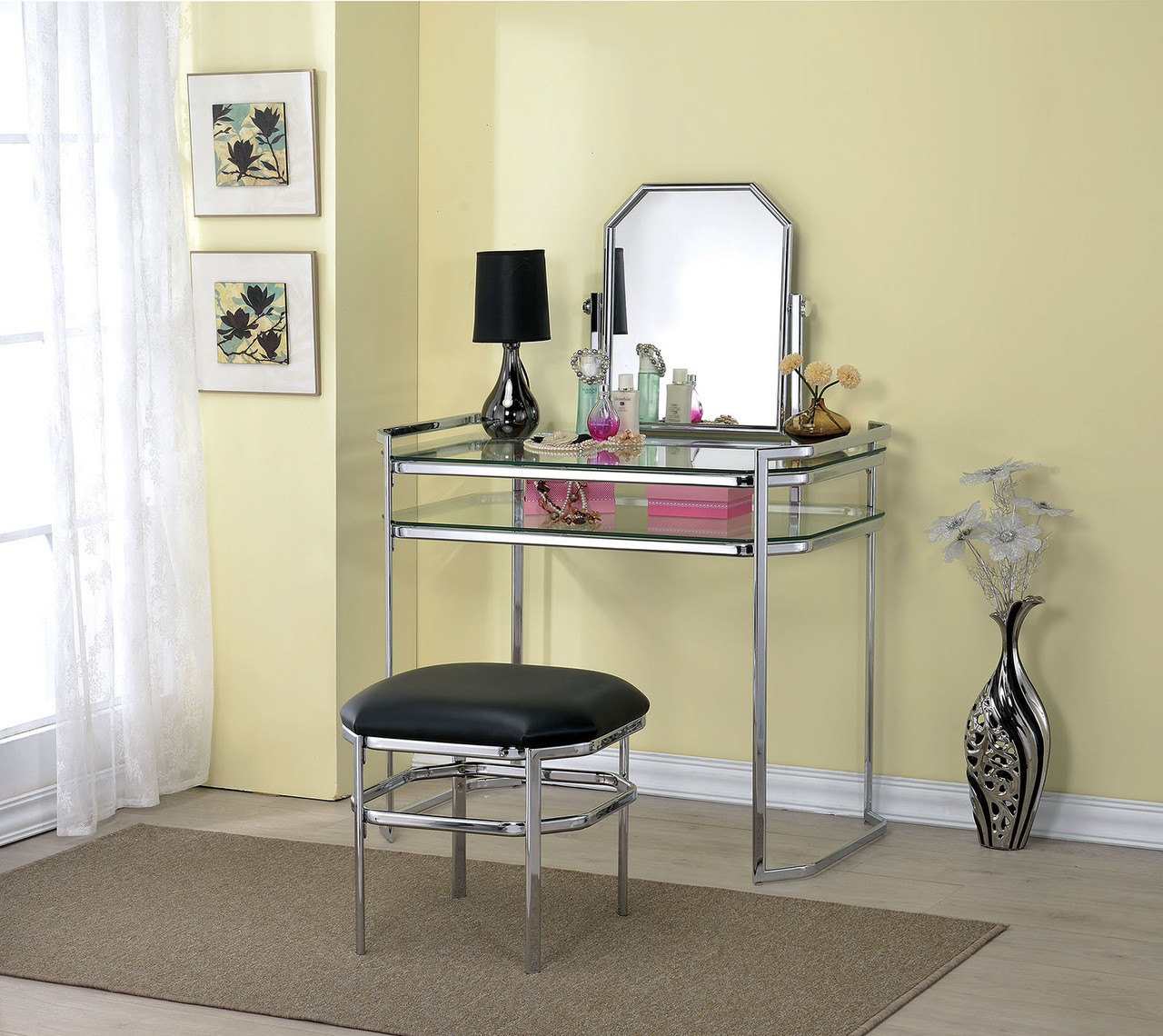 Arabella Gold Metal Makeup Vanity Table Set With Mirror