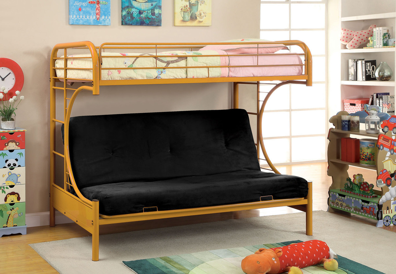 fontana metal twin futon bunk bed | purple, green, black, white