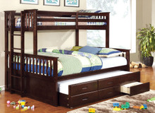 Espresso Extra Long Twin Over Queen Bunk Bed with Storage Trundle