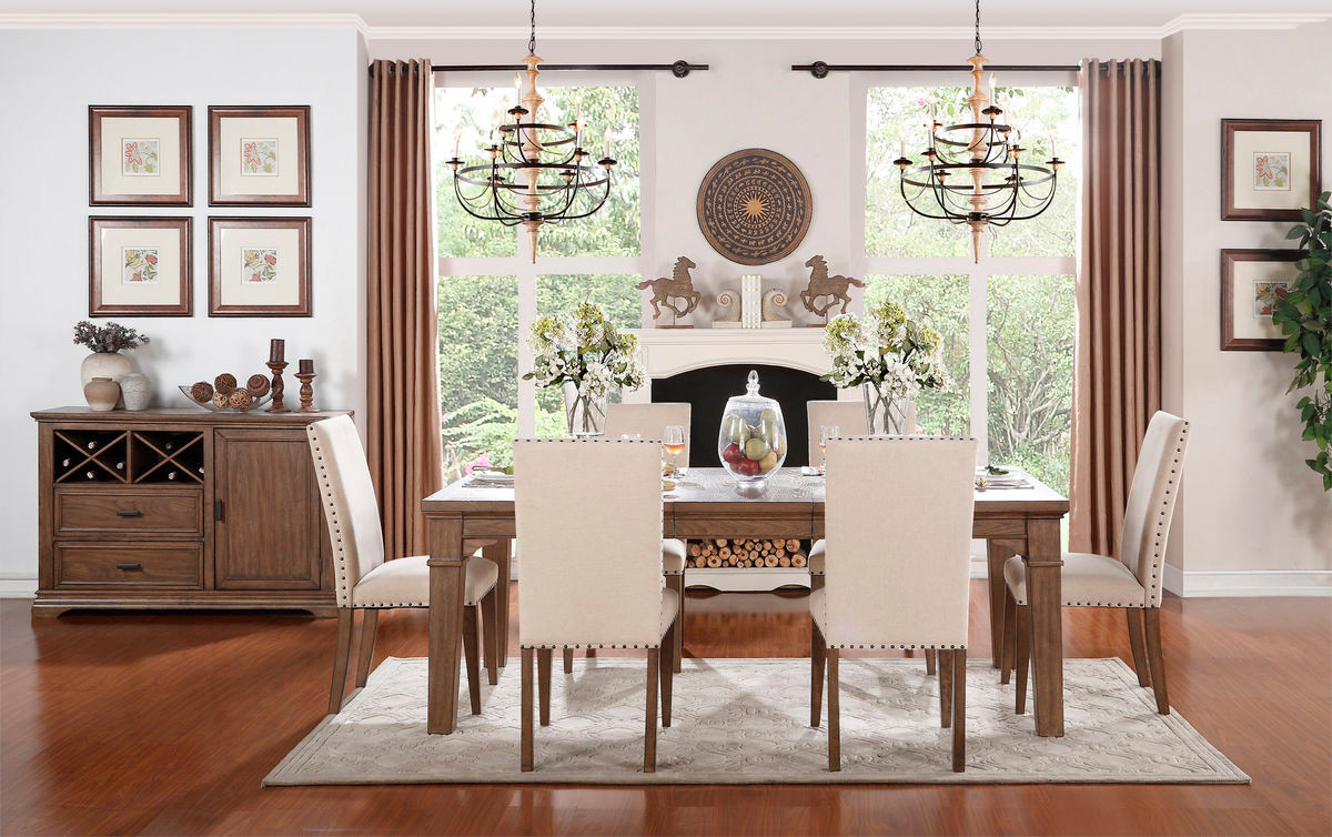 Rustic Valley Weathered Dining Table Set - Weathered dining table