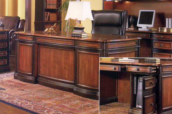 ... Brown Cherry Deluxe Office Desk   Home Office Furniture ...