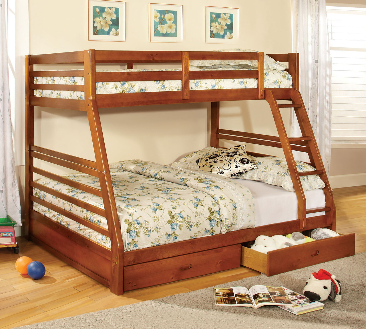 Buccari Twin Full Bunk Bed With Drawers In White Gray