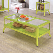 Furniture of America CM4273 Metal Glass Apple Green Coffee Table | Contemporary Glass Metal Coffee Table Set
