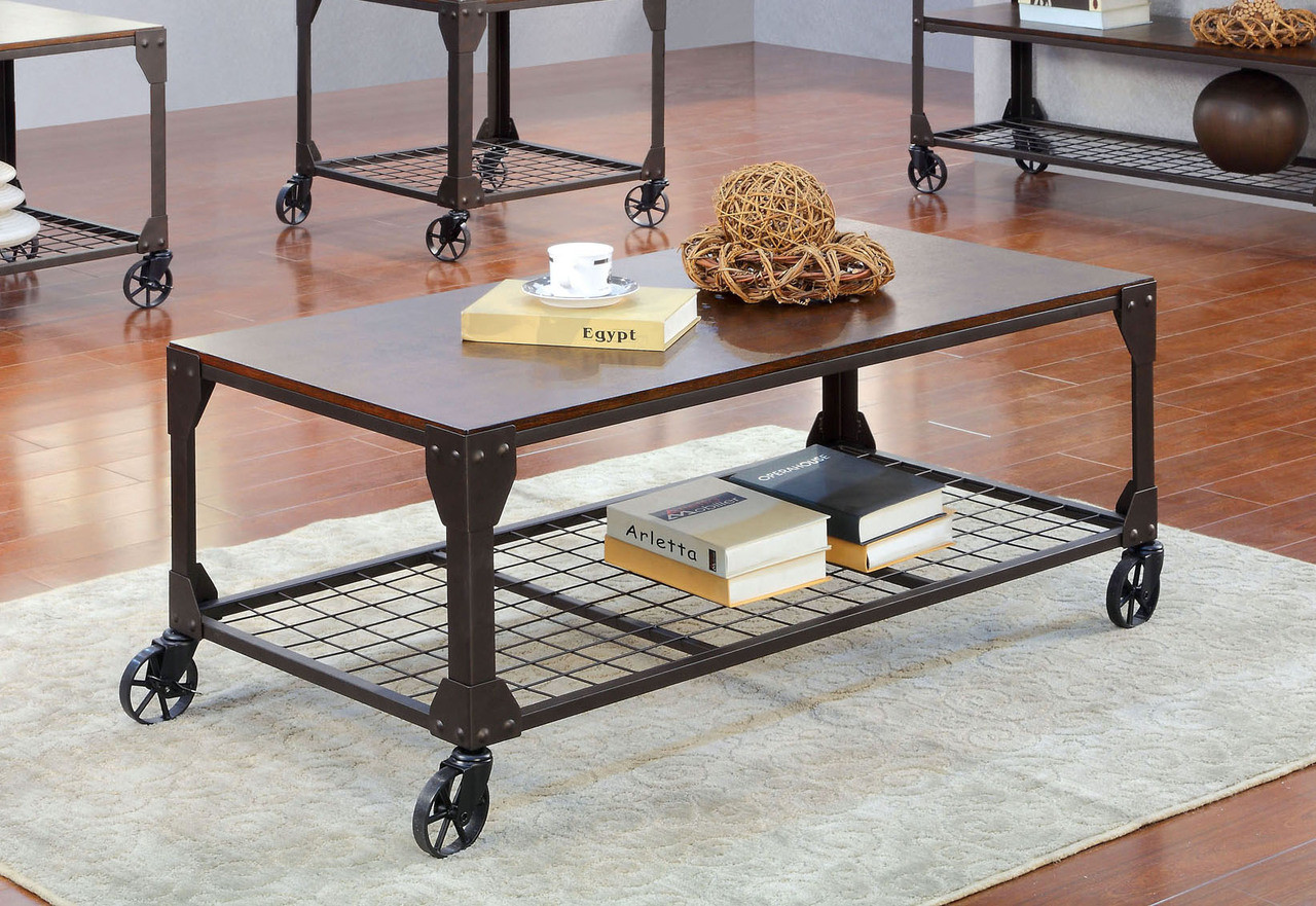 Exceptionnel Industrial Wood Metal Coffee Table | Industrial Inspired Coffee Table On  Wheels ...