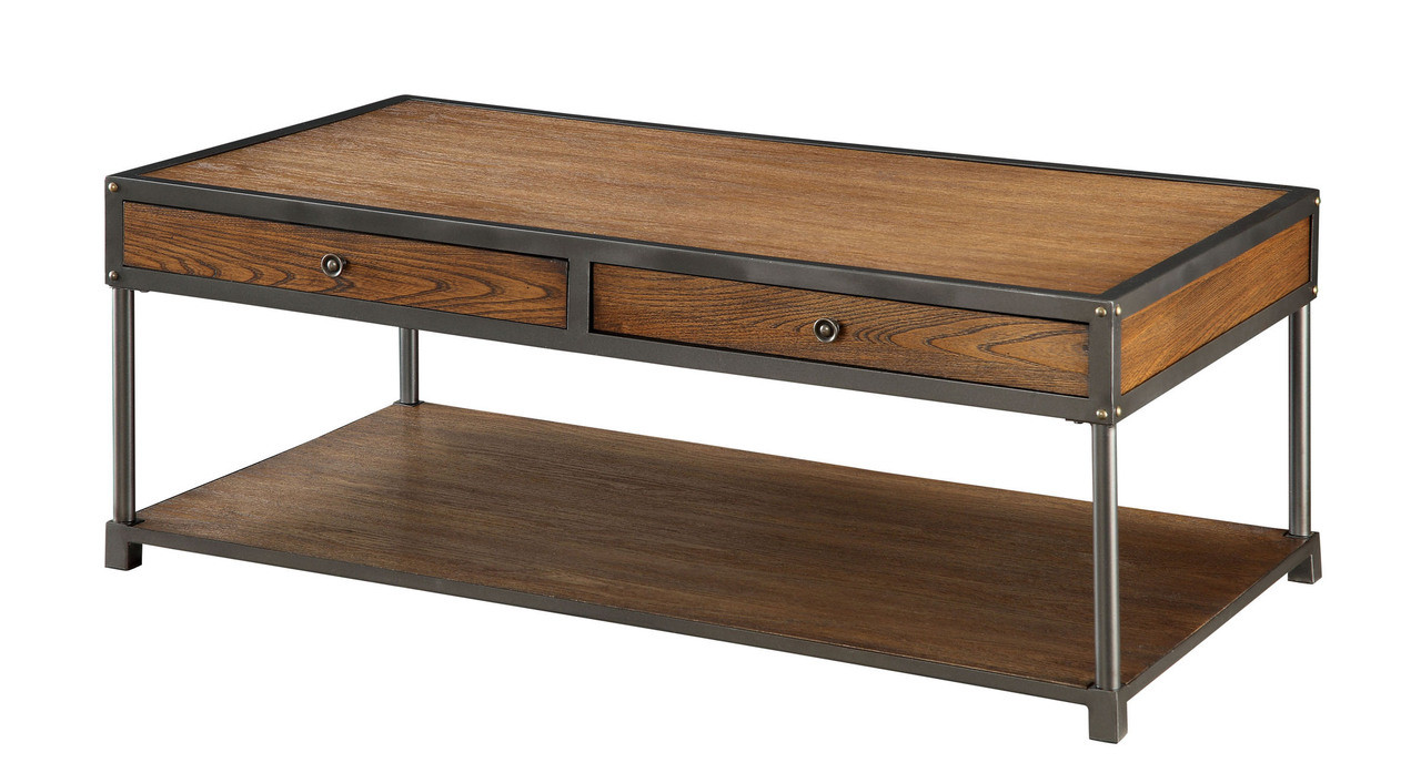 Wood Metal Coffee Table With Drawers Transitional Storage