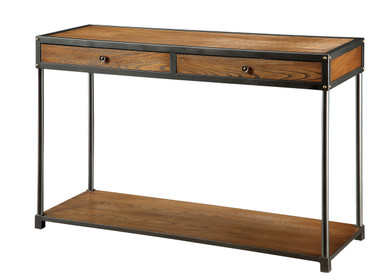 Bearbrass Wood Metal Sofa Table With Drawers