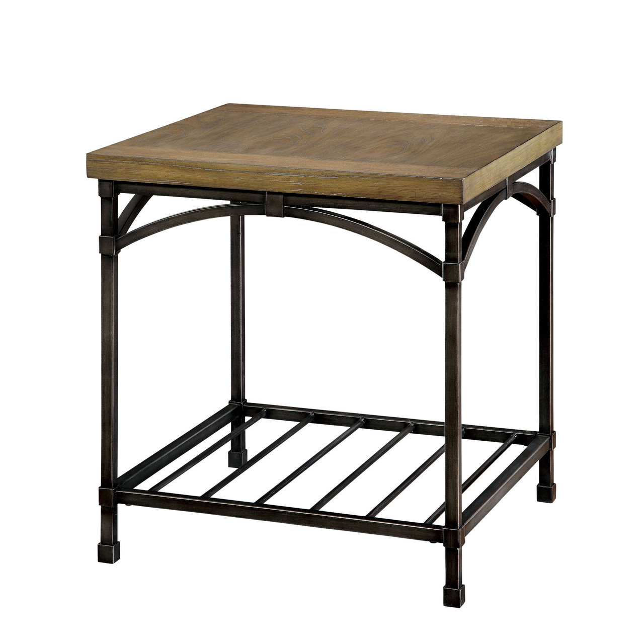 Lamia Wood Metal Oak End Table