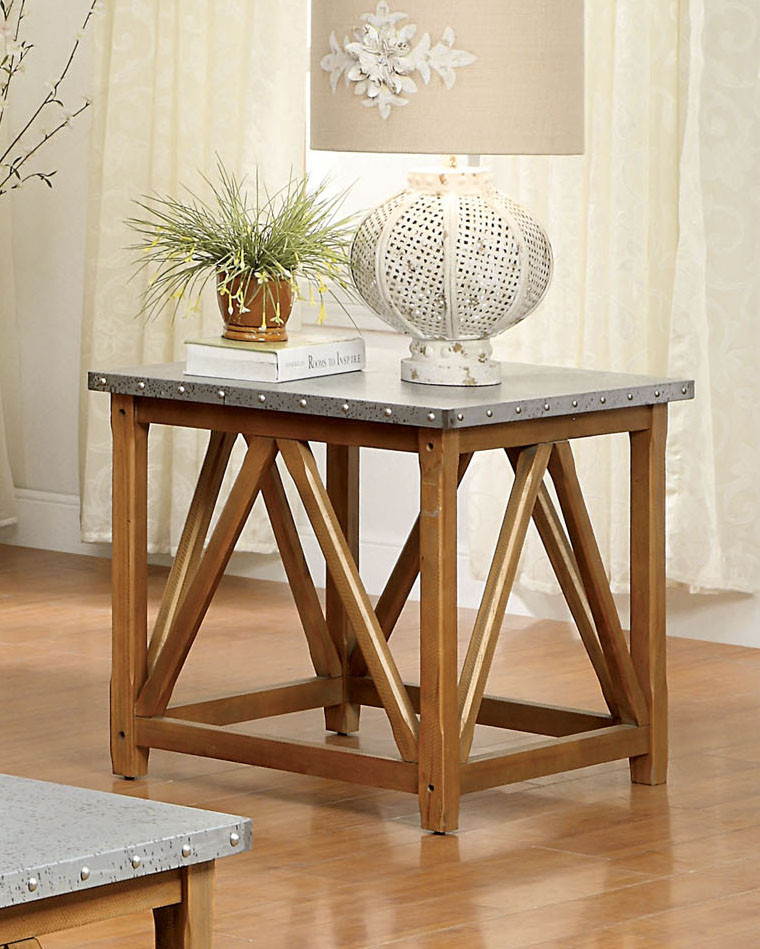 Ginco Wood Galvanized Iron Top End Table