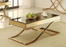 Brass Smoked Mirror Coffee Table | Graceful Mirror Coffee Table Set