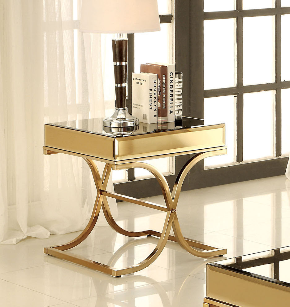 ... Brass Smoked Mirror End Table