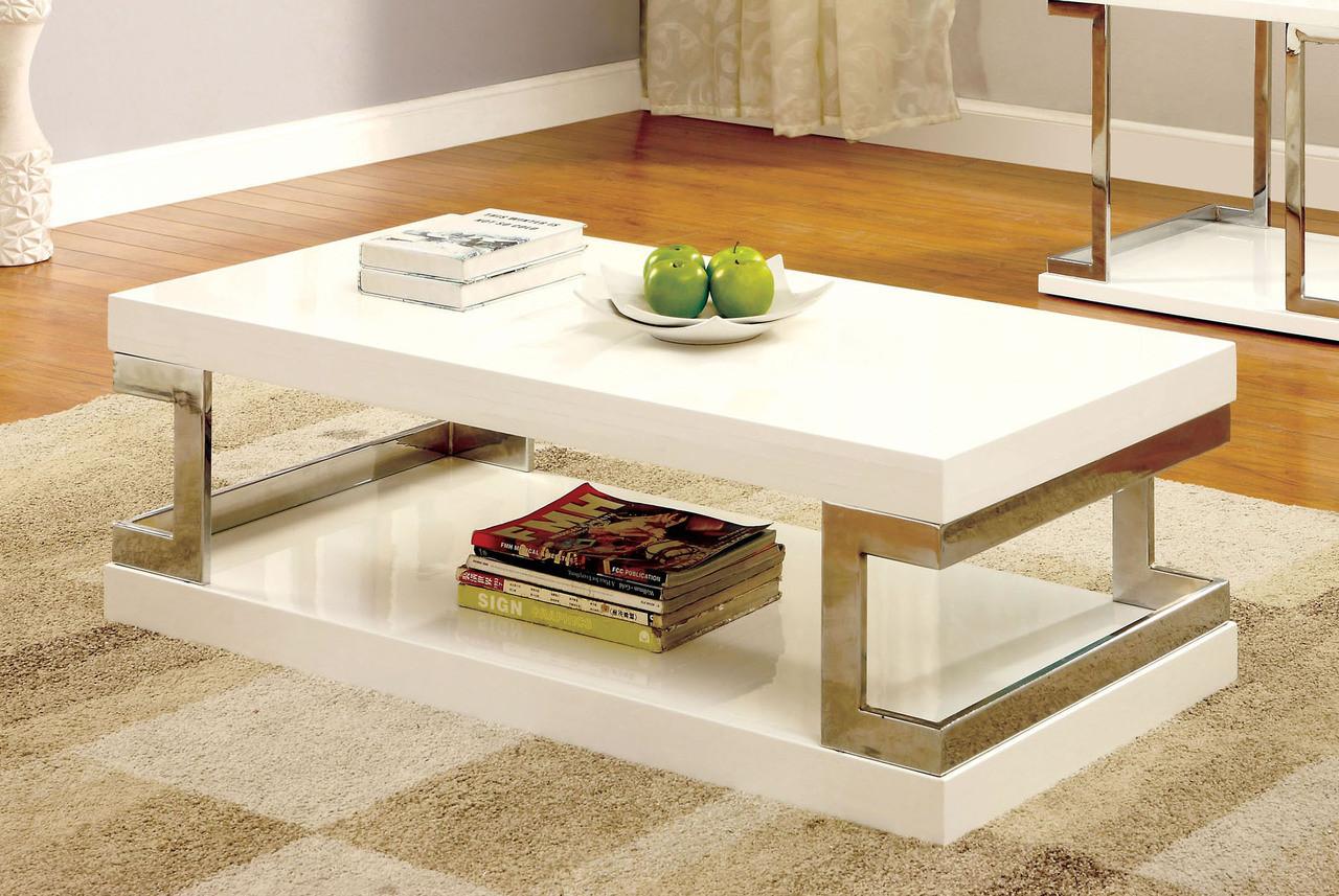 Messina contemporary white gloss chrome coffee table contemporary white gloss chrome coffee table fancy white coffee table set geotapseo Images