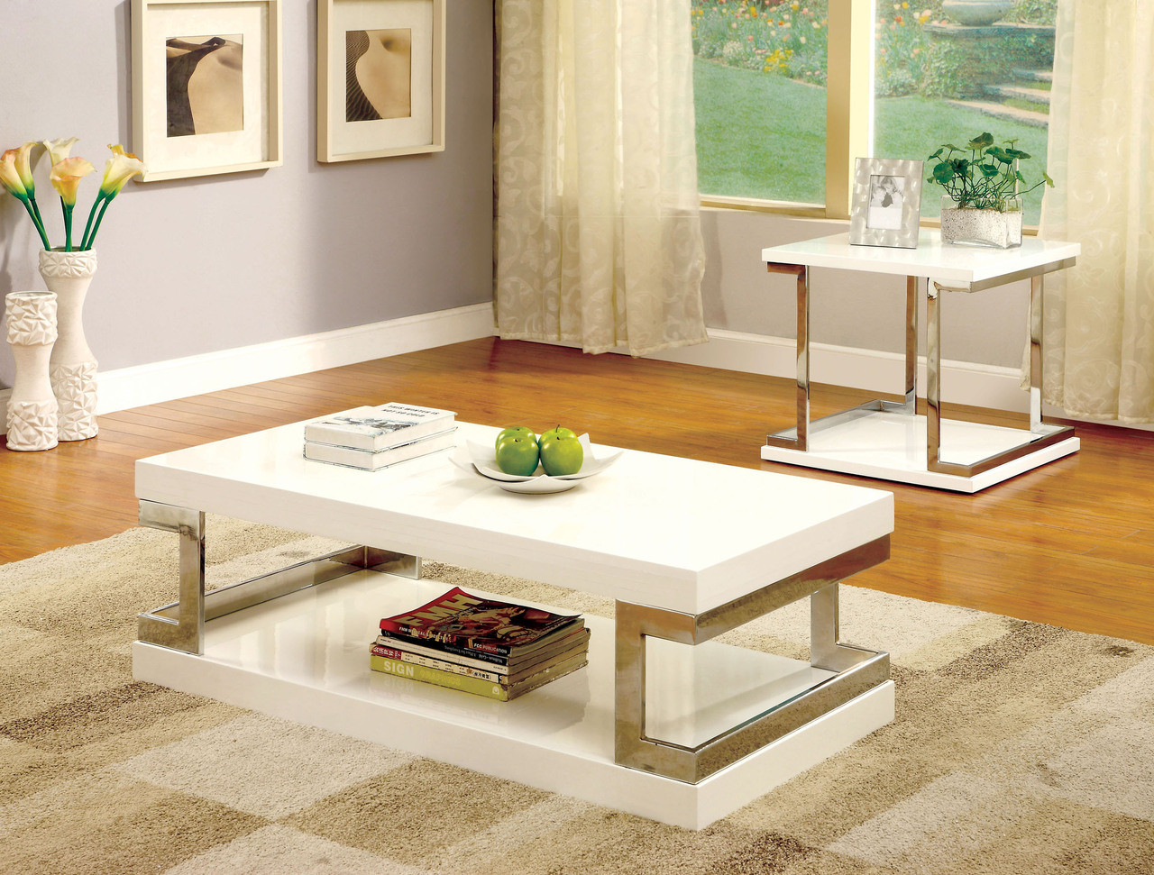 ... Contemporary White Gloss Chrome Coffee Table Set ...
