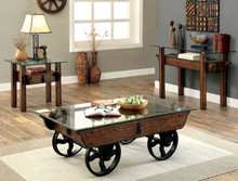 Furniture of America CM4318 Industrial Glass Wood Coffee, End & Sofa Table