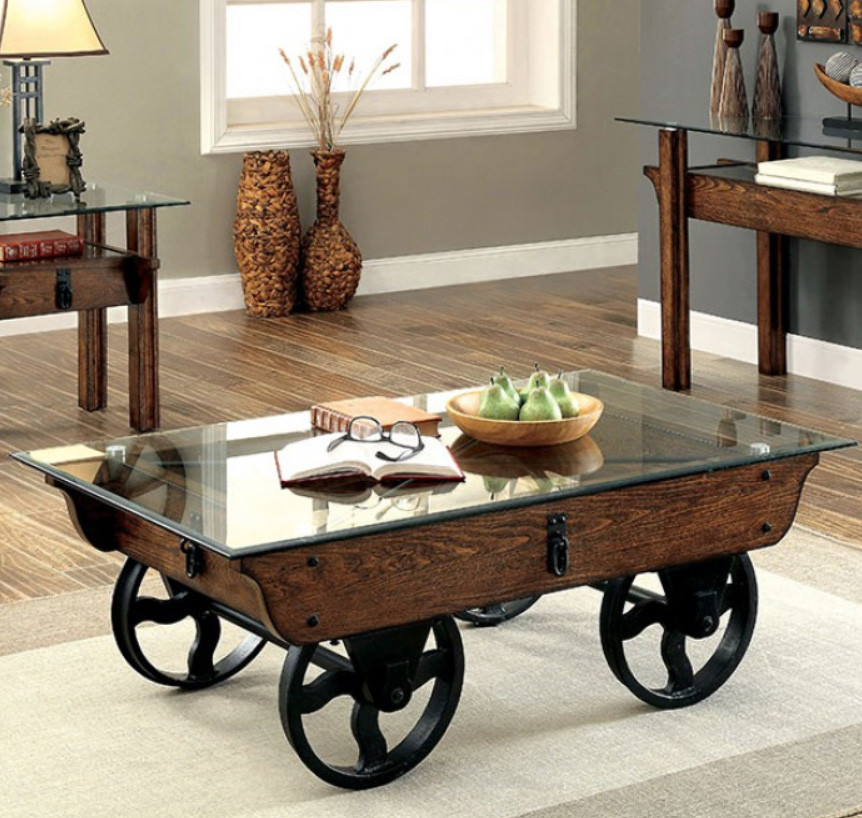 Furniture of America CM4318 Industrial Glass Wood