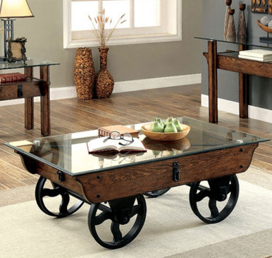 Furniture Of America Cm4318 Industrial Glass Wood Coffee Table