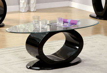 Glass Black Gloss Coffee Table | Modern Oval Glass Coffee Table