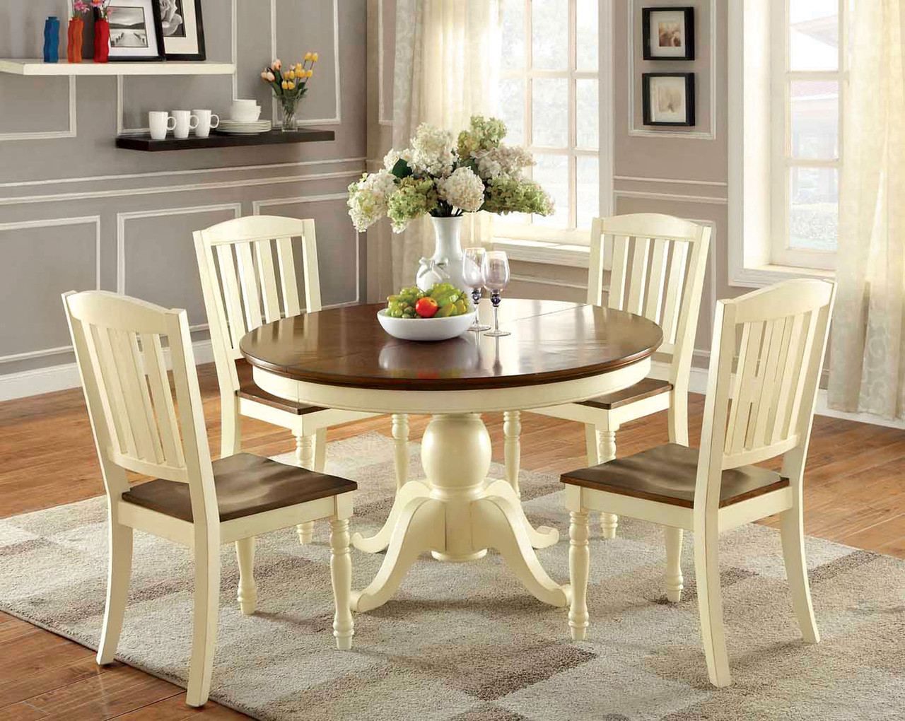 Oval vintage white cherry dining table set · round vintage white cherry dining table set