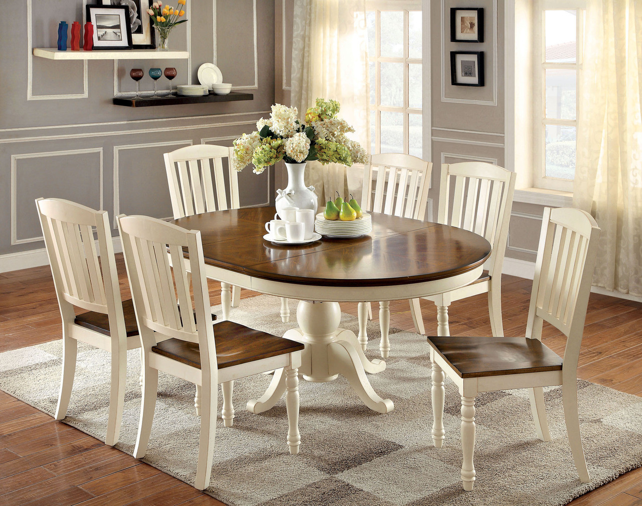 Good Oval Vintage White Cherry Dining Table Set ... Design Ideas