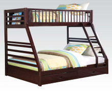 Extra Long Twin Queen Bunk Bed with Storage Drawers