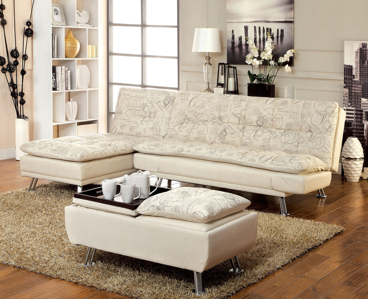 getafe fabric convertible futon sleeper bed with chaise