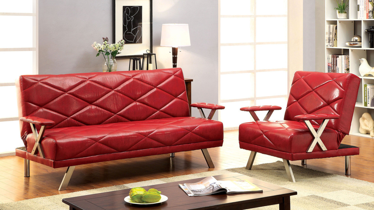 Massilia leatherette red black convertible futon sofa bed for Red and black sofa bed